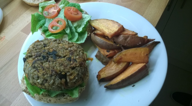 lazy vegan mushroom and lentil burgers