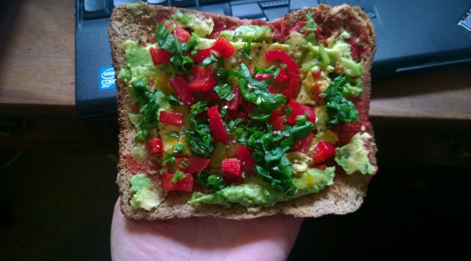 Lazy Recipe: Vegan Avocado pizza toast