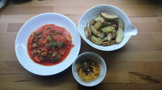 Lazy Vegan Recipe: Mexican Vegetable Stew with Butternut Dip and Spiced Wedges