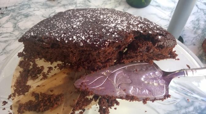 Vegan chocolate and prune cake