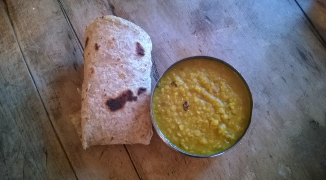 Lazy Vegan Recipe: Fennel, Garlic and Chilli Dal with Chapatti