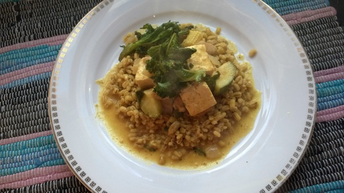 Lazy Vegan Recipe: Nutty Tofu Coconut Curry with Barley and Cumin Kale Crisp