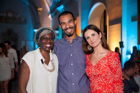 Lola Young, Baroness Young of Hornsey with unknown guest and Livia Firth at the Observer Ethical Awards 2015, held at the V&A Museum in London