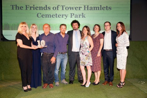 Jo Wood and Lucy Siegle present the Ethical Wildlife award to winners Friends of Tower Hamlets Park Cemetery at the Observer Ethical Awards 2015, held at the V&A Museum in London