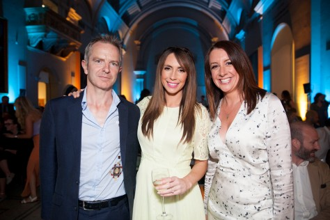 Observer editor John Mulholland with The One Show presenter Alex Jones and Lucy Siegle at the Observer Ethical Awards 2015, held at the V&A Museum in London